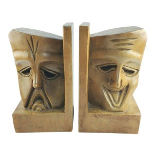 Mid 20th Century Theater Comedy Tragedy Teak Wood Bookends - a Pair For Sale