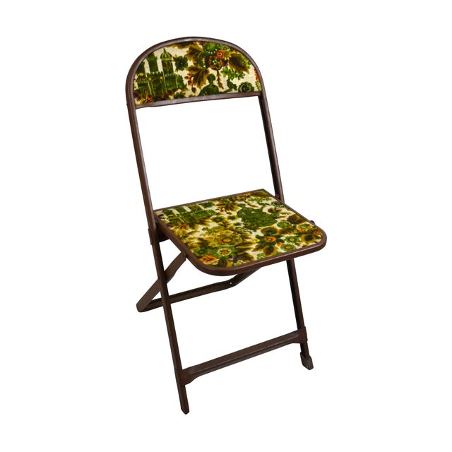 Vintage Tapestry Folding Chairs - S/4 - Image 2 of 6