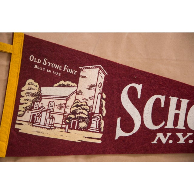Americana Vintage Schoharie NY Old Stone Fort Felt Flag For Sale - Image 3 of 3