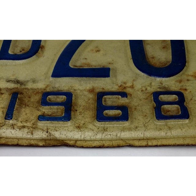 Rustic Mid Century Indiana License Plate 1968 - Image 4 of 6