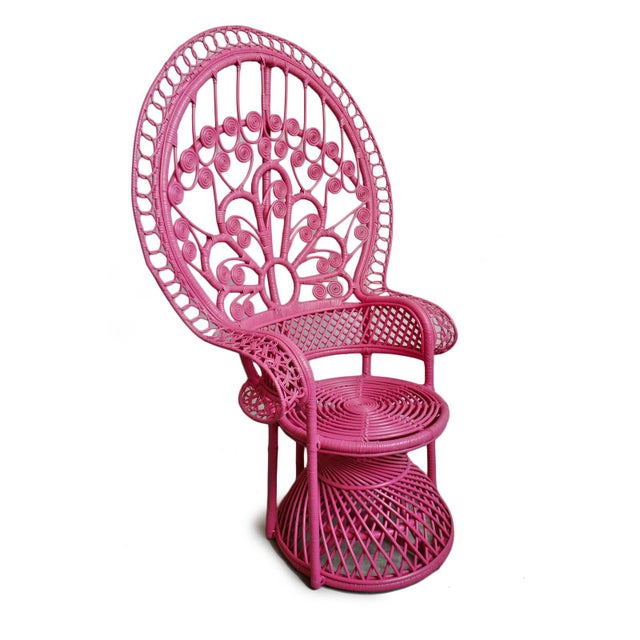 Vintage style classic Pink Peacock Wicker Chair. Beautiful hand crafted natural wicker workmanship with a pretty pink...