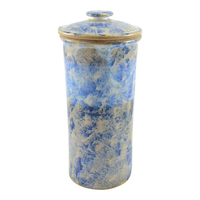 Farmhouse Blue Sponged Stoneware Jar For Sale