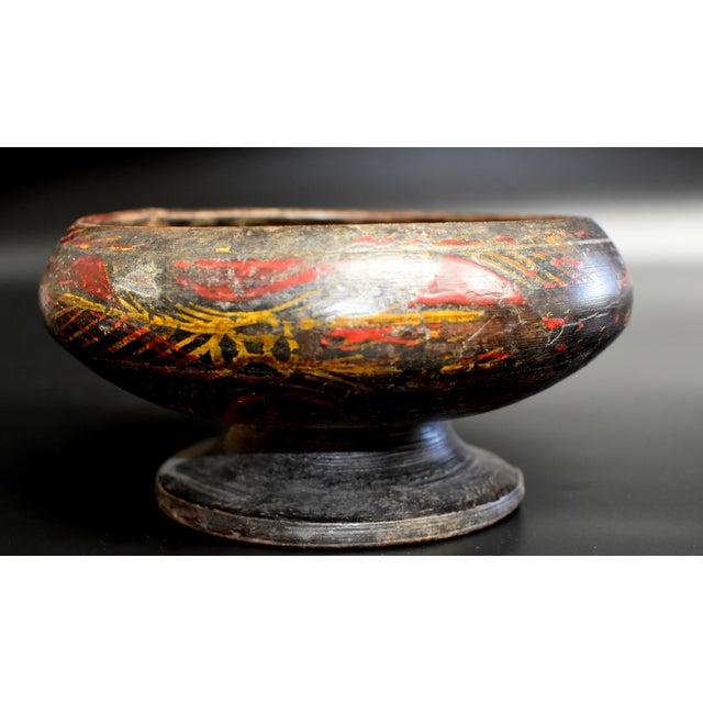 Wood Antique Tibetan Wheat Motif Wooden Bowl For Sale - Image 7 of 13
