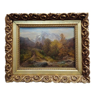 19th Century A. Waugen Swiss Landscape Oil Painting For Sale