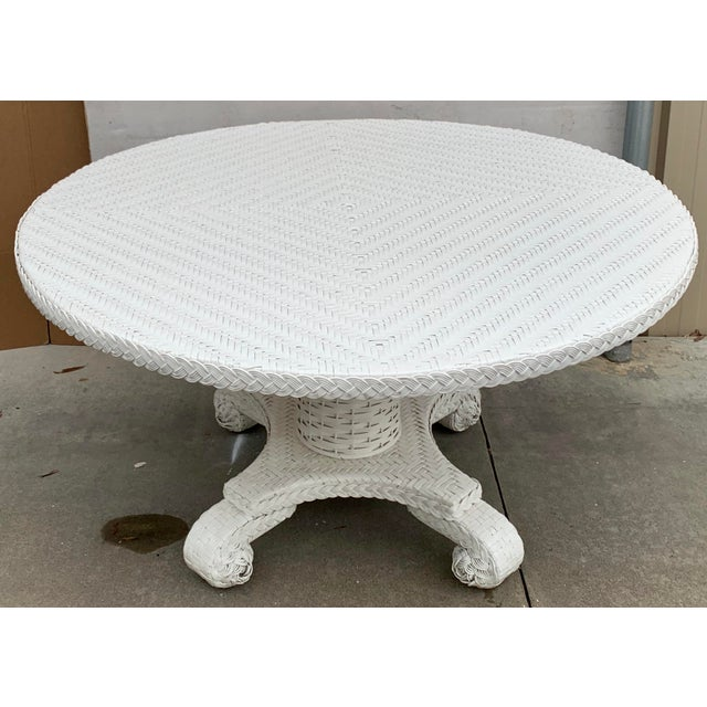Late 20th Century Large Round Wicker Pedestal Dining Table For Sale - Image 5 of 8