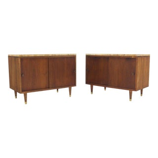 Mid-Century Modern Marble or Travertine Top Walnut Cabinets With Sliding Doors - a Pair For Sale