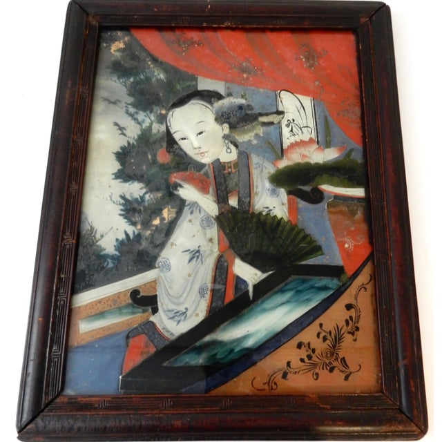 Antique Reverse Glass Painting For Sale