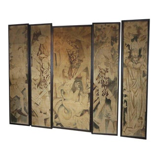 Art Deco Theatre Painted Tapestry Panels - Set of 5