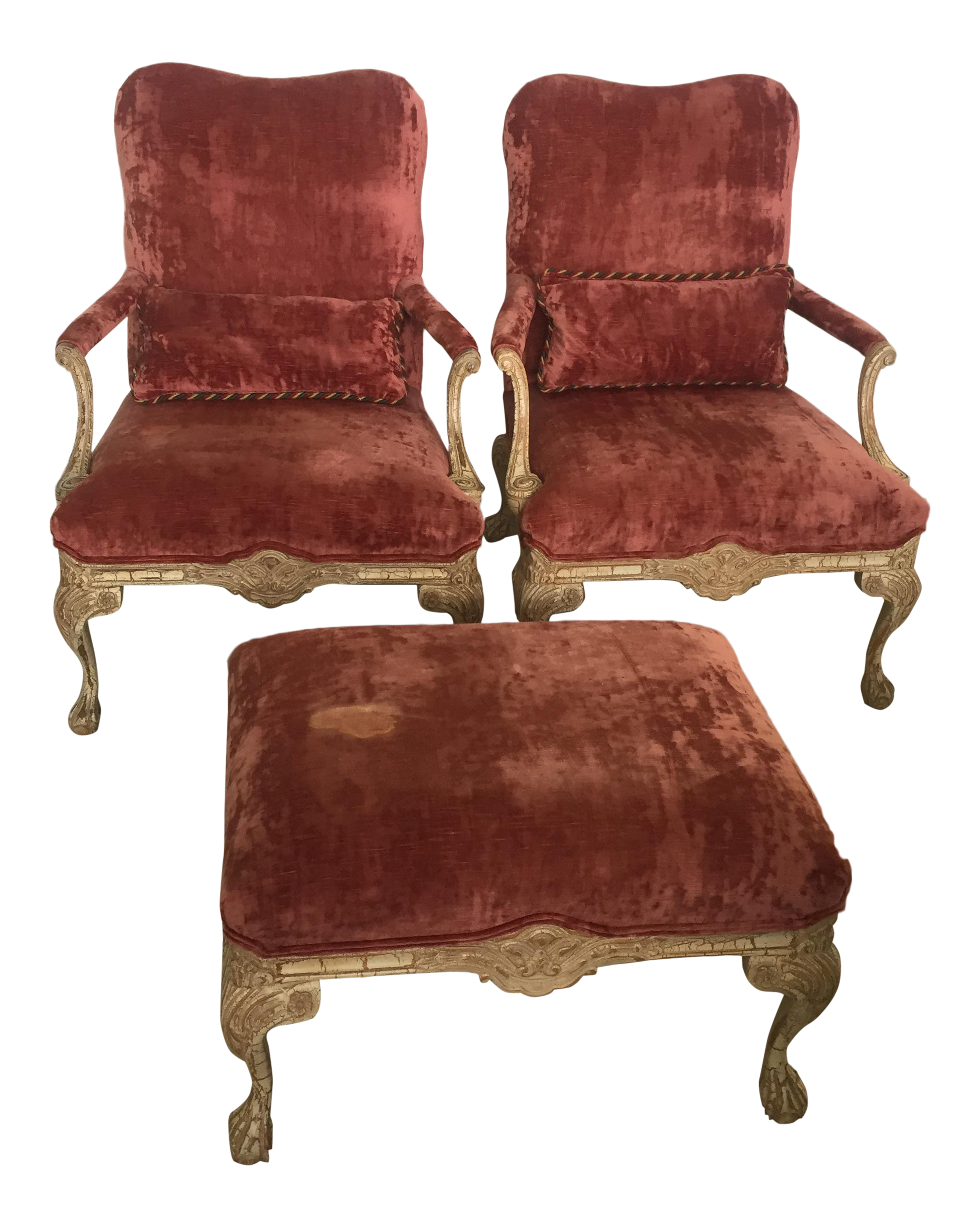 Rose Crushed Velvet Distressed Claw Foot Parlor Bergere Chairs And Ottoman    Set Of 3