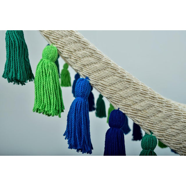 Handmade Deluxe Natural Cotton Hammock with Rainforest Inspired Tassels with Wooden Bar For Sale - Image 4 of 9