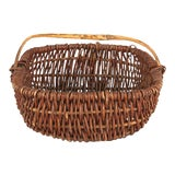 Image of Mid 20th Century French Wicker Basket From Auvergne Region For Sale