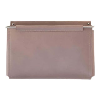 Moses Nadel Wall Pocket in Taupe Leather and Stainless Steel For Sale