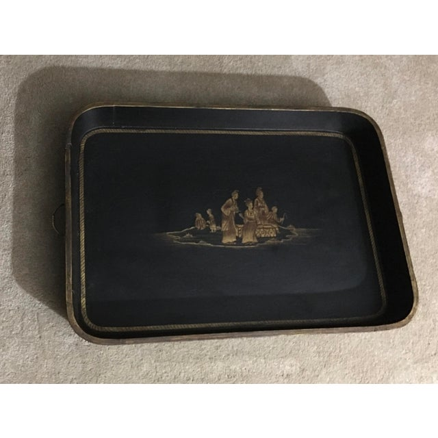 2000 - 2009 Vintage Chinoiserie Hand Painted Wooden Rectangle Tray Table For Sale - Image 5 of 13