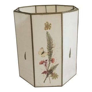 Mid-Century Modern Large Octagonal Fiberglass Pressed Flower and Fern Lamp Shade For Sale