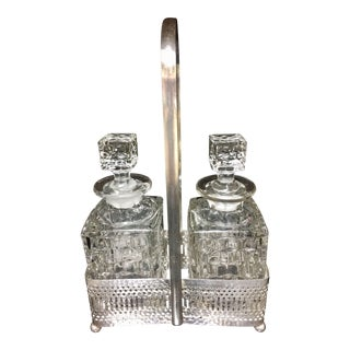 1930s English Cut Crystal Decanters in a Silver Plated Caddy - Set of 3 For Sale