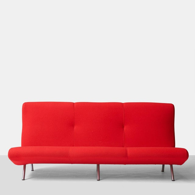 Italian Marco zanuso sofa in cherry red wool For Sale - Image 3 of 7