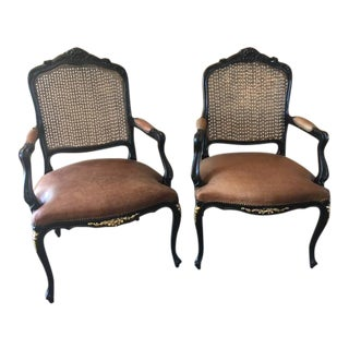 Louis XV Style Leather Ebonized & Caned Armchairs - A Pair