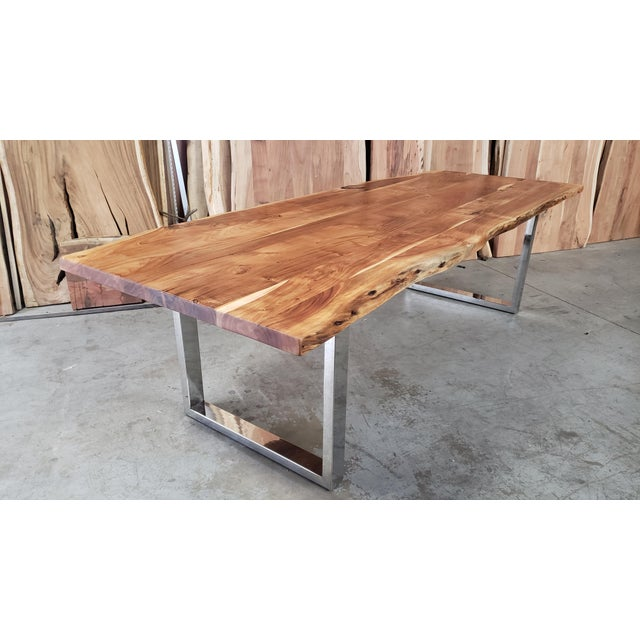 Brown Rustic Live Edge, Acacia Wood Dining Table For Sale - Image 8 of 8
