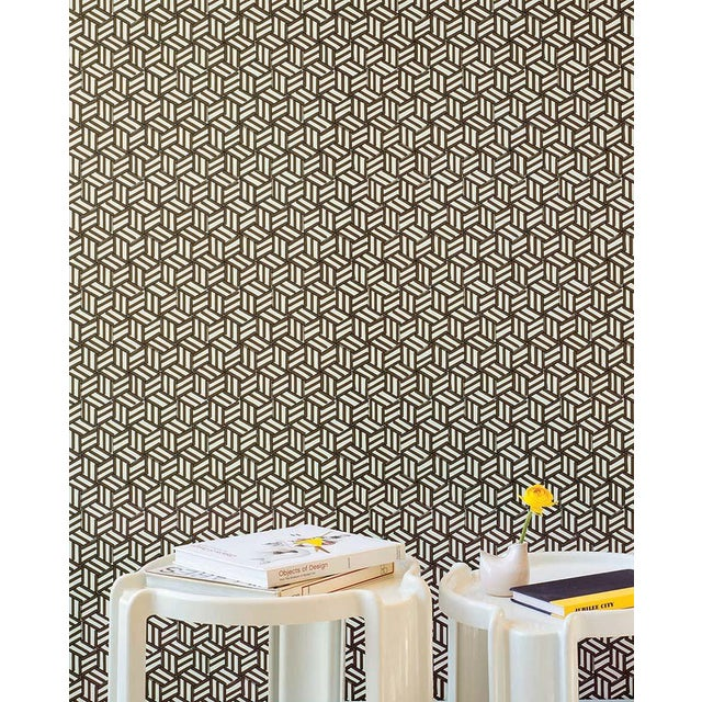 Schumacher Schumacher Tumbling Blocks Wallpaper in Chocolate For Sale - Image 4 of 5