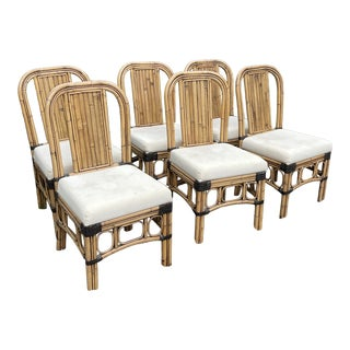 Vintage Rattan Chairs Set of Six For Sale