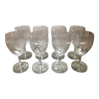 Set of 8 Antique Art Deco Dorflinger Crystal Kalana Pansy Port Wine Stems For Sale
