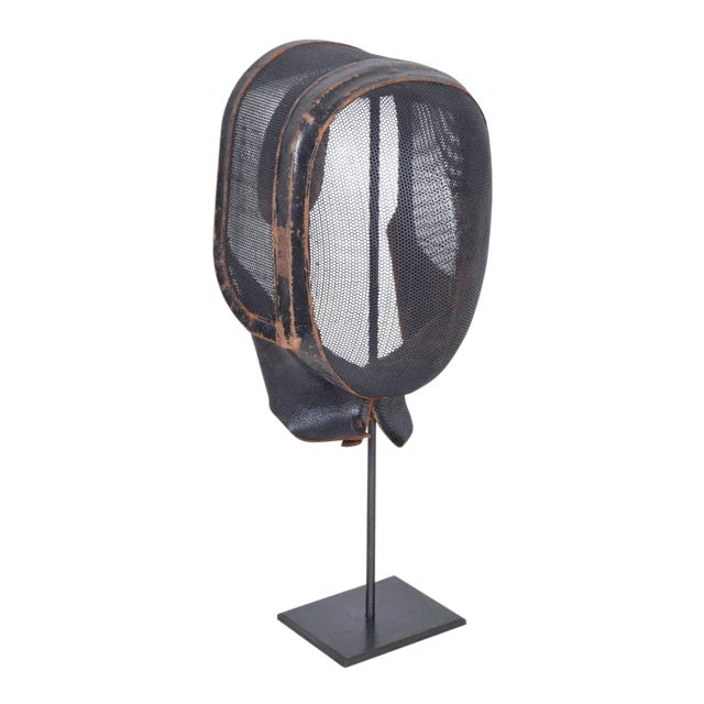 Antique French Leather and Wire Mesh Fencing Mask on Custom Iron Stand For Sale