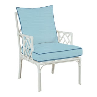 Haven Outdoor Occasional Arm Chair, Mineral Blue and Sapphire For Sale