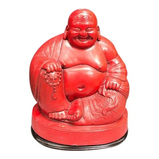 1960s Red Ceramic Buddha Statue on Stand For Sale
