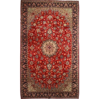 RugsinDallas Vintage Hand Knotted Wool Persian Najafabad Rug - 12′10″ × 21′6″ For Sale