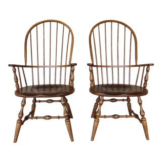 Habersham Hoop Back Windsor Style Arm Chairs - a Pair For Sale
