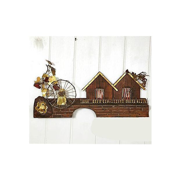 Country Metal Waterwheel & House Wall Sculpture For Sale - Image 3 of 6