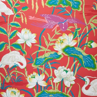Schumacher Lotus Garden Wallpaper in Red (9 Yards) For Sale
