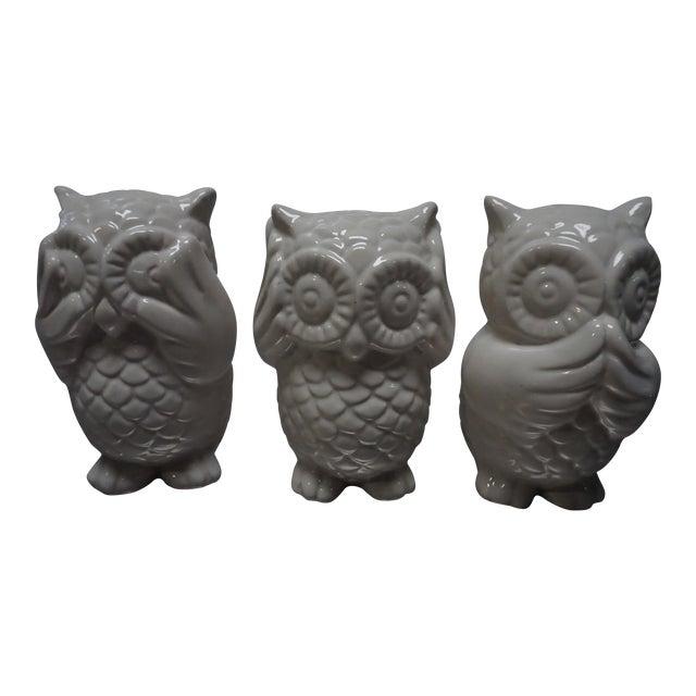 Small White Ceramic Owls- Set of 3 - Image 1 of 8
