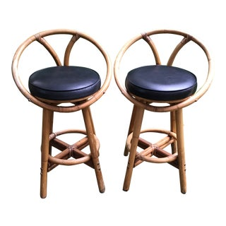 Mid-Century Rattan Circle Back Swivel Bar Stools - Set of 2 For Sale