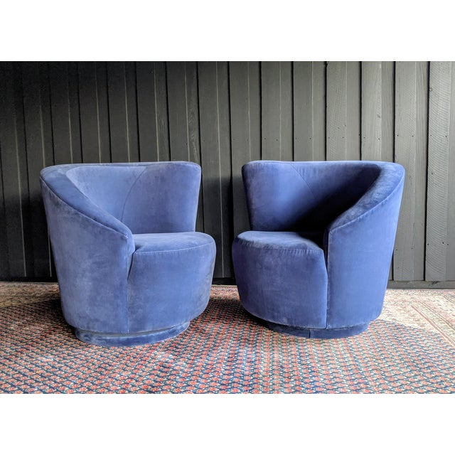 Vladimir Kagan Nautilus Swivel Chairs Reupholstered in Blue Velvet, a Pair For Sale - Image 9 of 13