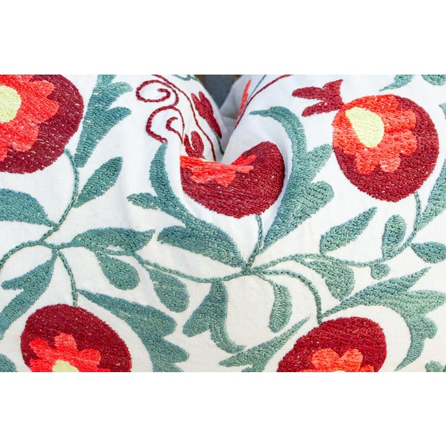 Late 20th Century Iris Coral Floral Suzani Pillow For Sale - Image 5 of 9