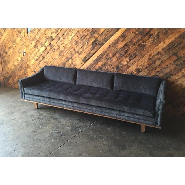 Fabric Mid Century Style Custom Walnut Trim Sofa For Sale - Image 7 of 8