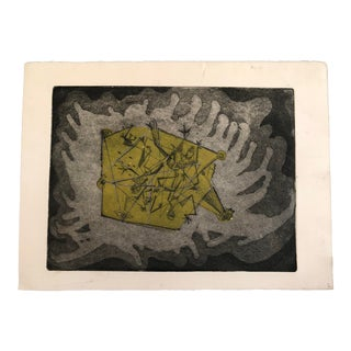 1970s Robert Lohman Black and White Abstract Etching For Sale