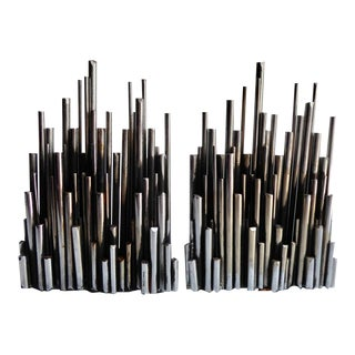 Pair of Rare Steel Bookends in the Form of a Cityscape by Artisan House C. 1969 For Sale