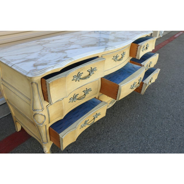 Carrara Marble John Widdicomb Dresser w/ Carrara Marble Top For Sale - Image 7 of 10