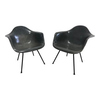 Pair of Early Eames Herman Miller Armchairs, Elephant Hide Grey For Sale