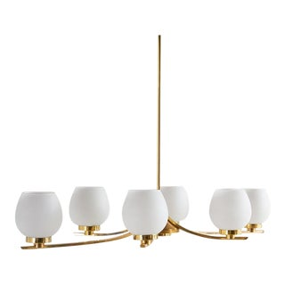 Mid Century French Brass Six Arm Chandelier For Sale
