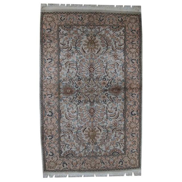 Vintage Silk Indian Indo-Tabriz Rug - 3′2″ × 5′3″ For Sale