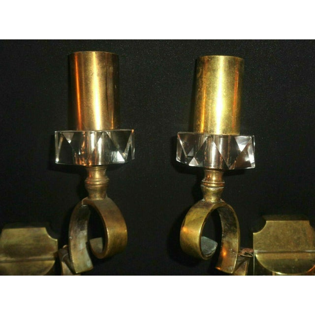 1930's French Art Deco Jules Leleu Gilt Bronze W/ Baccarat Crystal Documented Wall Sconces - a Pair For Sale In Miami - Image 6 of 13