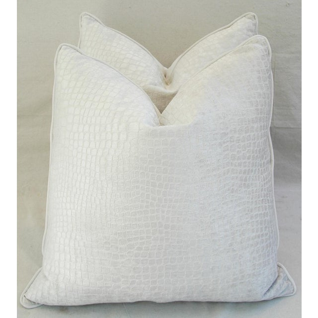 "Early 21st Century Boho Chic Bone White Crocodile Velvet Feather/Down Pillows 24"" Square - Pair For Sale - Image 5 of 12"