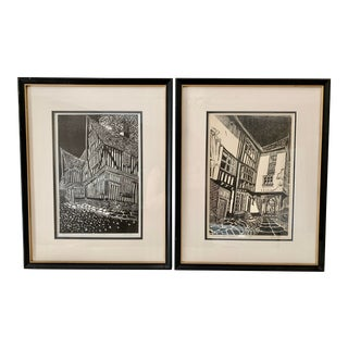 English Woodblock Prints - a Pair For Sale