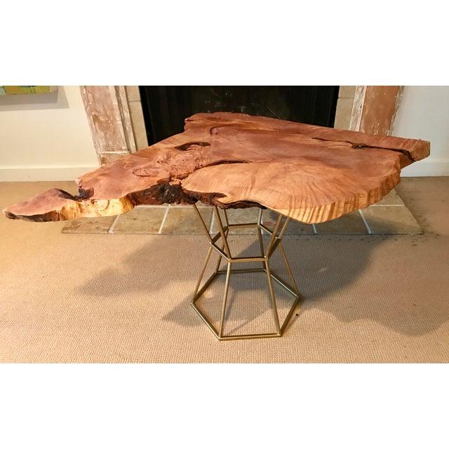 Live Edge Coffee Table Base: Live Edge Coffee Table Maple Burl On Gilt Pedestal Base