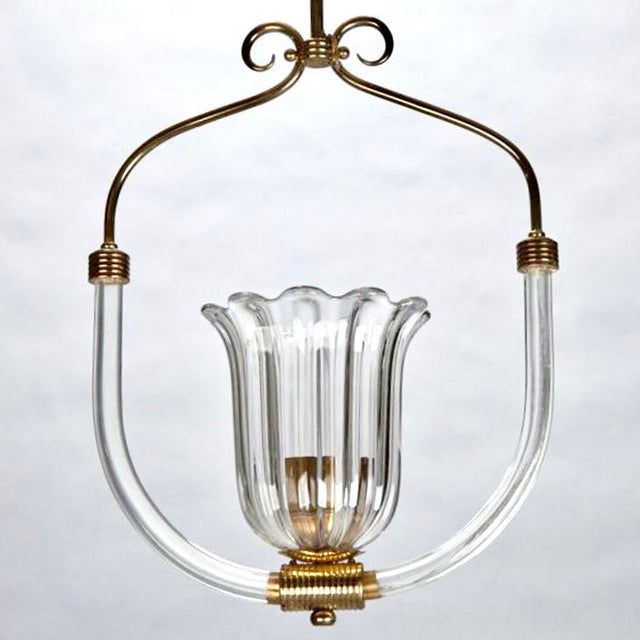 Barovier and Toso Art Deco Era Glass and Brass Pendant Fixture - Image 4 of 4