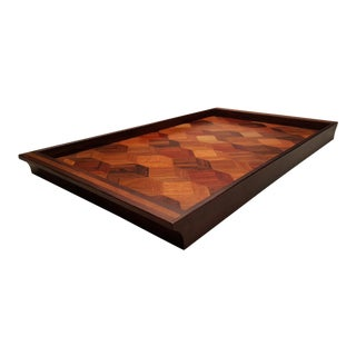 1960s Vintage Don Shoemaker Exotic Hardwood Marquetry Tray For Sale