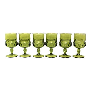 Mid-Century Green Wine Glasses - Set of 6